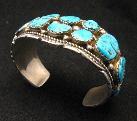 Image 5 of Quality Dead Pawn Native American Navajo Turquoise Cuff Bracelet