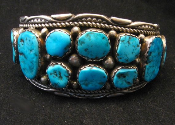 Image 7 of Quality Dead Pawn Native American Navajo Turquoise Cuff Bracelet