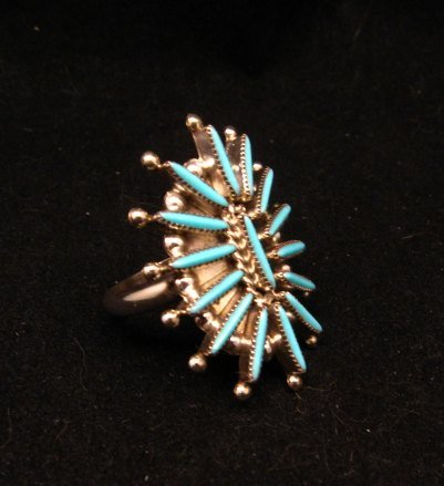 Image 1 of Zuni Indian Jewelry Turquoise Needlepoint Ring sz9 Cordelia & Lance Waatsa
