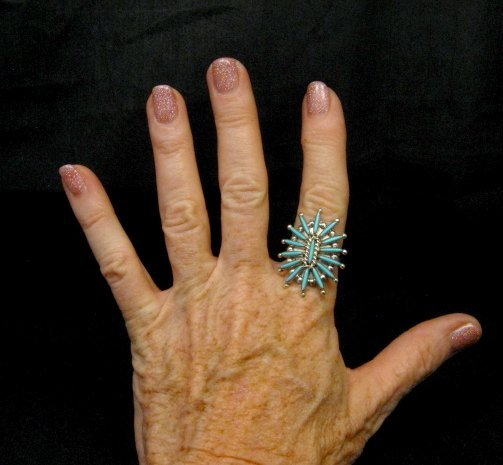 Image 2 of Zuni Indian Jewelry Turquoise Needlepoint Ring sz9 Cordelia & Lance Waatsa