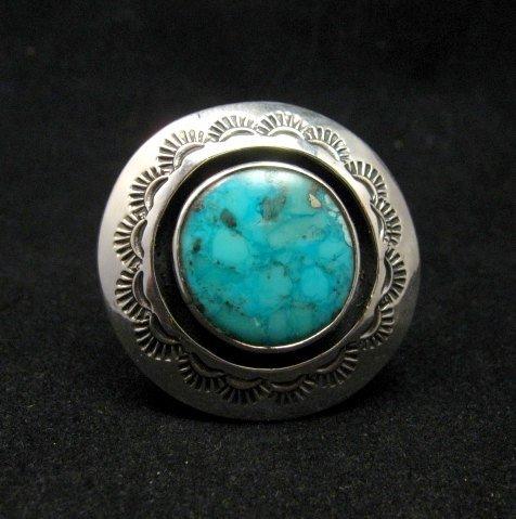 Image 0 of Everett & Mary Teller Navajo Kingman Turquoise ShadowBox Ring sz9