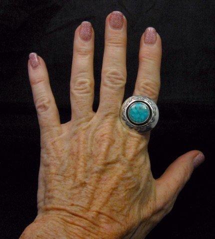 Image 2 of Everett & Mary Teller Navajo Kingman Turquoise ShadowBox Ring sz9