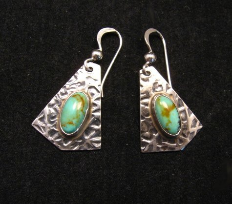 Image 0 of Navajo Everett & Mary Teller Turquoise Hammered Silver Earrings