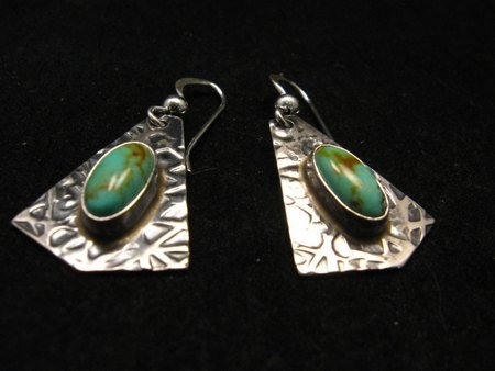 Image 2 of Navajo Everett & Mary Teller Turquoise Hammered Silver Earrings