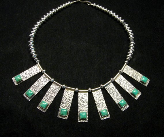 Image 0 of Navajo Everett & Mary Teller Turquoise Hammered Silver Necklace
