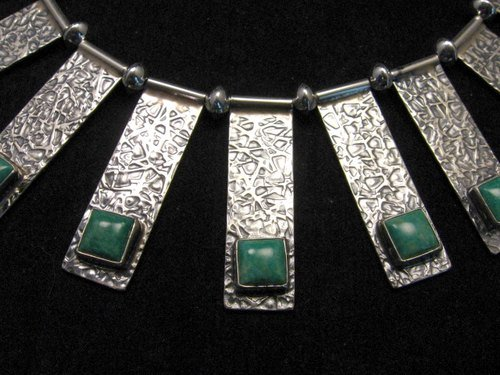 Image 2 of Navajo Everett & Mary Teller Turquoise Hammered Silver Necklace