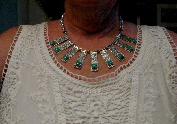 Image 3 of Navajo Everett & Mary Teller Turquoise Hammered Silver Necklace