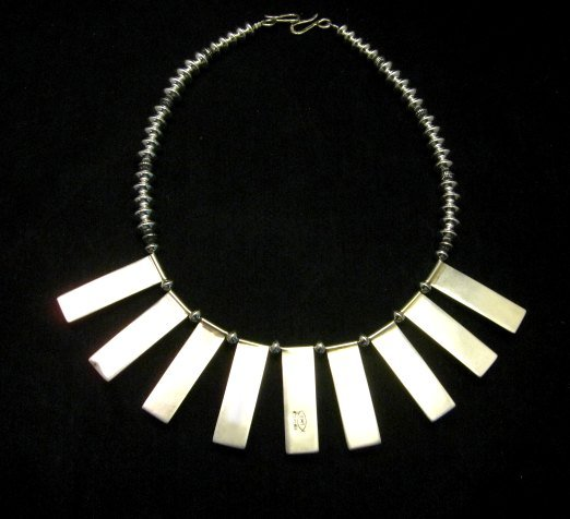 Image 4 of Navajo Everett & Mary Teller Turquoise Hammered Silver Necklace