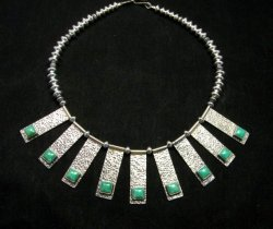 Navajo Everett & Mary Teller Turquoise Hammered Silver Necklace