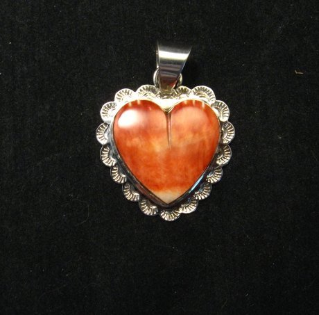 Image 0 of Navajo Everett & Mary Teller Spiny Oyster Silver Heart Pendant