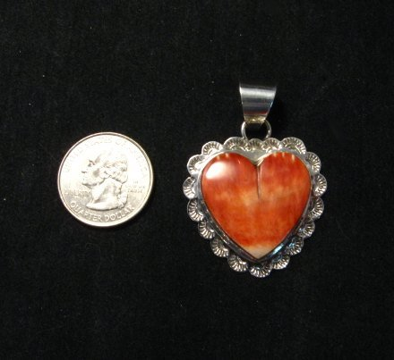 Image 2 of Navajo Everett & Mary Teller Spiny Oyster Silver Heart Pendant