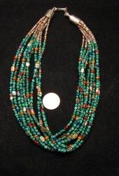 Everett & Mary Teller Navajo Turquoise Multi Gem Necklace 9-Strand