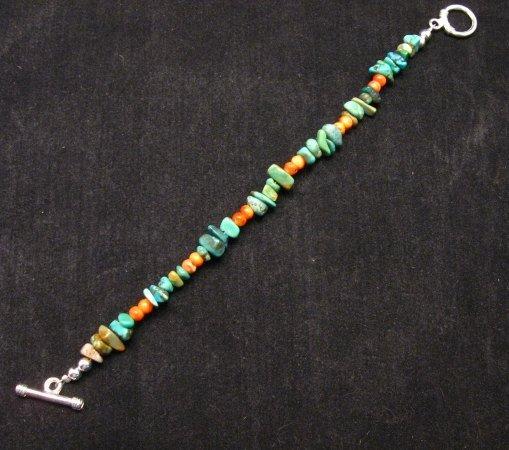 Image 1 of Everett & Mary Teller Navajo Turquoise & Spiny Oyster Shell Bracelet