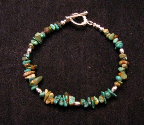 Image 1 of Everett & Mary Teller Navajo Turquoise Nugget Bead Bracelet