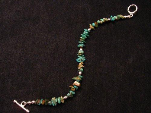 Image 0 of Everett & Mary Teller Navajo Turquoise Nugget Bead Bracelet