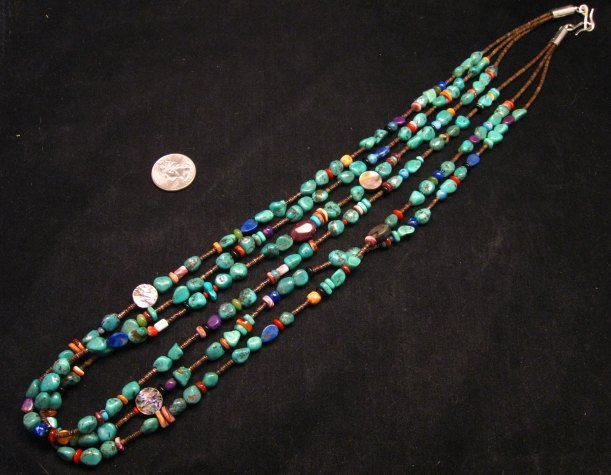 Image 1 of Long Everett & Mary Teller Navajo Turquoise Multi Gem Necklace 3-Strand