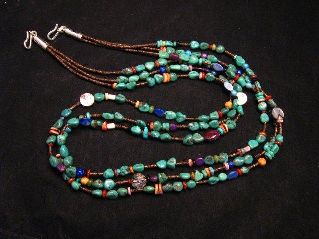Image 2 of Long Everett & Mary Teller Navajo Turquoise Multi Gem Necklace 3-Strand