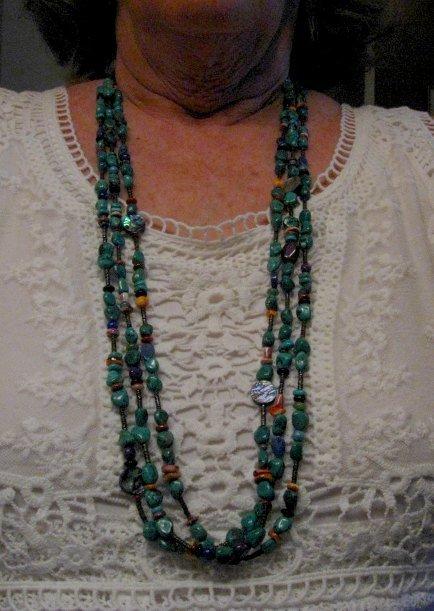 Image 4 of Long Everett & Mary Teller Navajo Turquoise Multi Gem Necklace 3-Strand