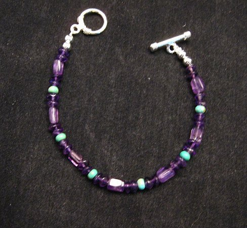 Image 0 of Everett & Mary Teller Navajo Sugilite & Turquoise Bead Bracelet