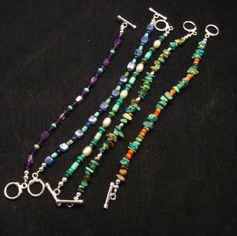 Image 2 of Everett & Mary Teller Navajo Sugilite & Turquoise Bead Bracelet