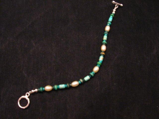 Image 1 of Everett & Mary Teller Navajo Turquoise & Fresh Water Pearl Bead Bracelet