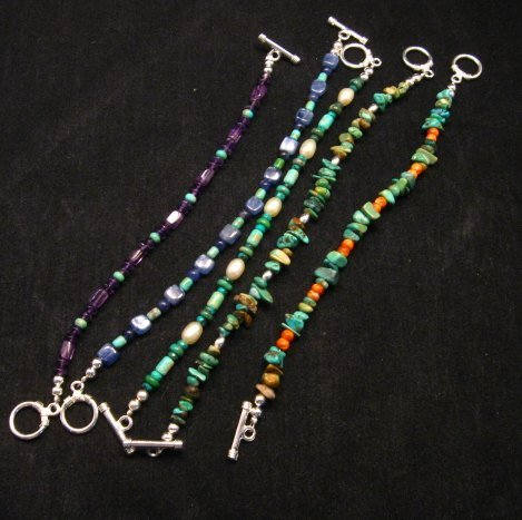 Image 2 of Everett & Mary Teller Navajo Turquoise & Fresh Water Pearl Bead Bracelet
