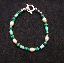 Everett & Mary Teller Navajo Turquoise & Fresh Water Pearl Bead Bracelet