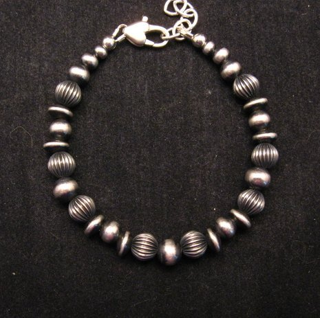 Image 0 of Navajo Hand Finished Mixed Sterling Silver Bead Bracelet 7-8 inch