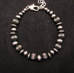 Navajo Hand Finished Mixed Sterling Silver Bead Bracelet 7-8 inch