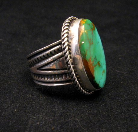 Image 1 of Albert Jake Navajo Native American Turquoise Ring Sz9 adjustable