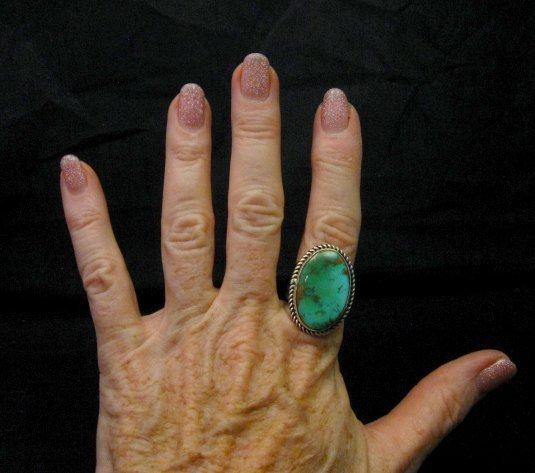 Image 5 of Albert Jake Navajo Native American Turquoise Ring Sz9 adjustable