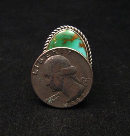 Image 6 of Albert Jake Navajo Native American Turquoise Ring Sz9 adjustable