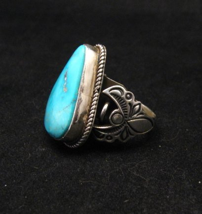Image 1 of Albert Jake Navajo Native American Kingman Turquoise Ring Sz9-1/2