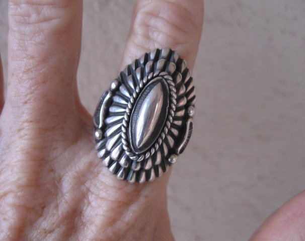 Image 9 of Navajo Harry Begay Sterling Silver Ingot Ring sz10