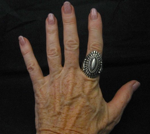 Image 4 of Navajo Harry H Begay Sterling Silver Ring sz10-1/4