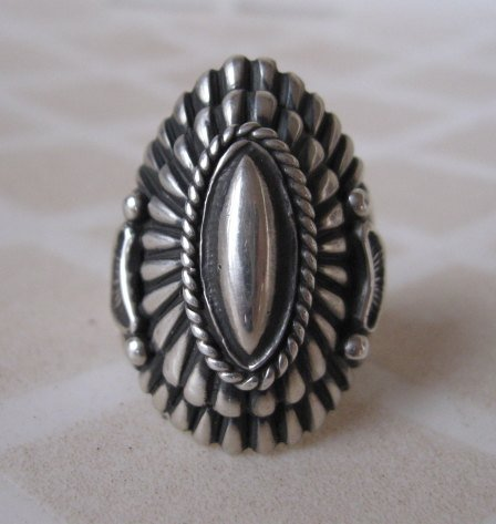 Image 7 of Navajo Harry Begay Sterling Silver Ingot Ring sz10