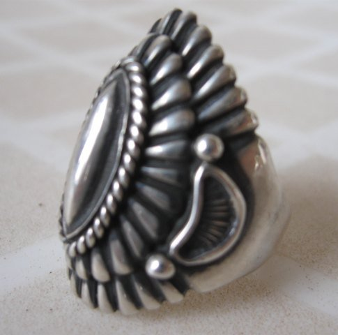 Image 8 of Navajo Harry Begay Sterling Silver Ingot Ring sz10