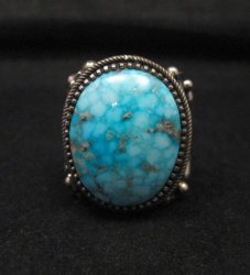 Big Navajo Birdseye Kingman Turquoise Silver Ring sz9-1/2 Richard Jim