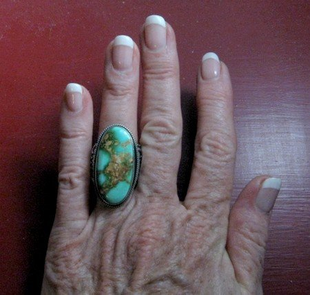 Image 5 of Bo Reeves Navajo Old Pawn Style Pilot Mtn Turquoise Ring sz7-1/2