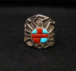 Unique Navajo Tufa Cast Turquoise Coral Inlay Ring sz8, Merle House