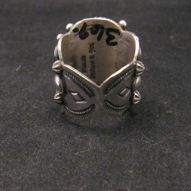 Image 3 of Navajo Native American Turquoise Silver Ring by Richard Jim sz8