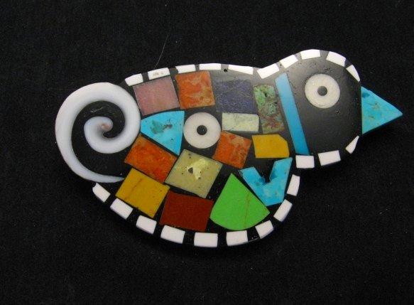 Image 0 of Mary Tafoya Santo Domingo Colorful Multi Inlay Bird Pin/Pendant