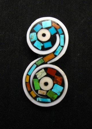 Image 0 of Unique Santo Domingo Kewa Turquoise Inlay Folk Art Pin/Pendant, Mary Tafoya