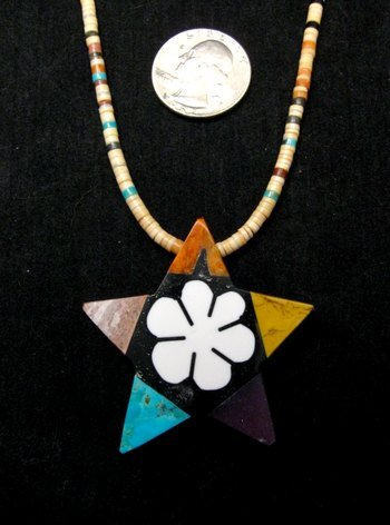 Image 1 of Mary Tafoya Santo Domingo Mosaic Flower Inlay Star Necklace
