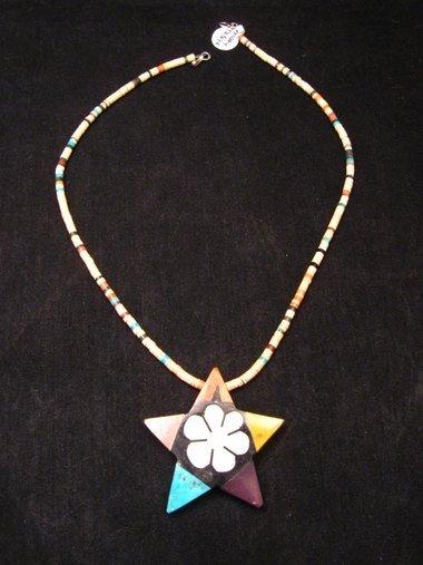 Image 3 of Mary Tafoya Santo Domingo Mosaic Flower Inlay Star Necklace