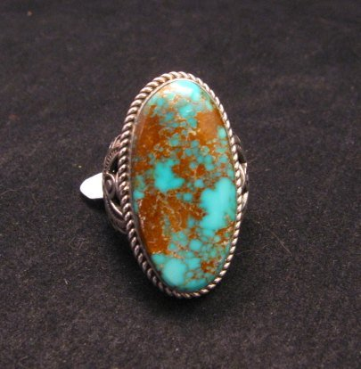 Image 0 of Big Albert Jake Navajo Native American Kingman Turquoise Ring Sz8-1/2