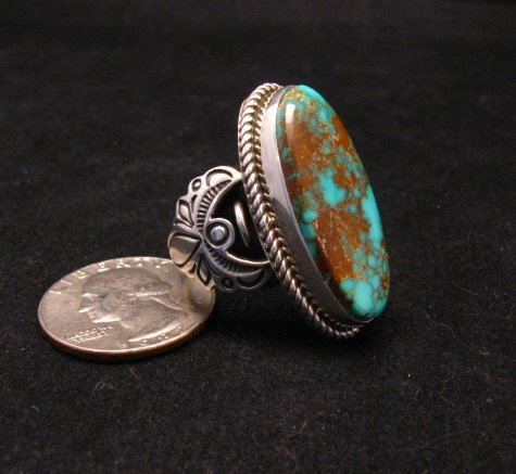 Image 2 of Big Albert Jake Navajo Native American Kingman Turquoise Ring Sz8-1/2