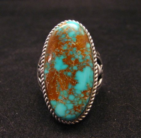Image 6 of Big Albert Jake Navajo Native American Kingman Turquoise Ring Sz8-1/2