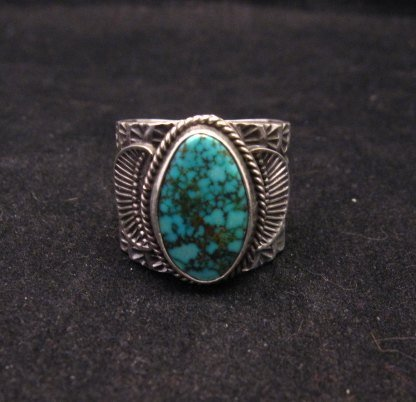 Image 0 of Wide Navajo Native American Sunshine Reeves Old Pawn Style Turquoise Ring sz10