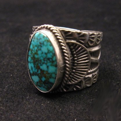 Image 2 of Wide Navajo Native American Sunshine Reeves Old Pawn Style Turquoise Ring sz10